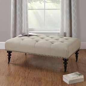Dorel Living Winston Button-Tufted Upholstered Ottoman, Beige