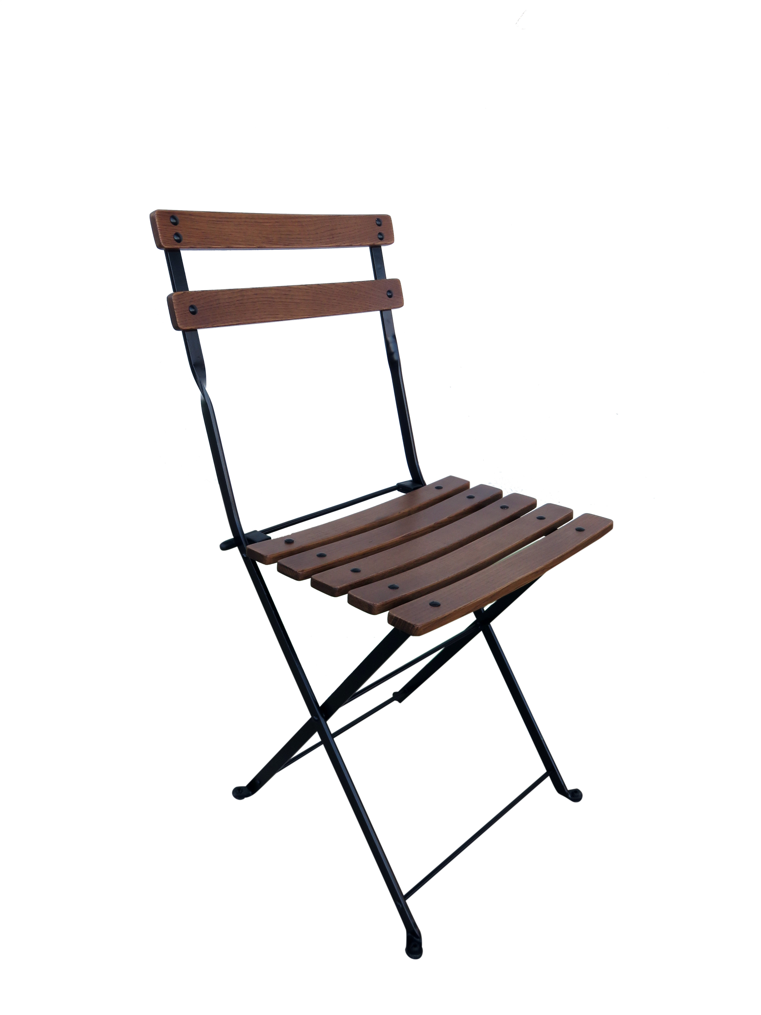 Superb Furniture DesignHouse Handcrafted French Bistro European Cafe Folding Side  Chair With Curved Chestnut Wood Slats,