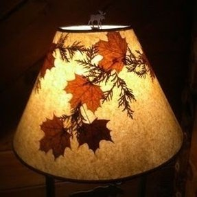 Great adirondack style lamp shade with maple and cedar leaves