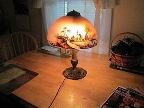 Hand painted glass lamp shades