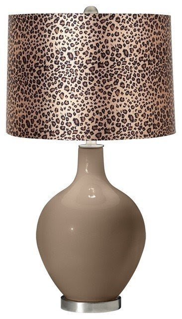 Genial Mocha Leopard Print Ovo Table Lamp Contemporary Table Lamps