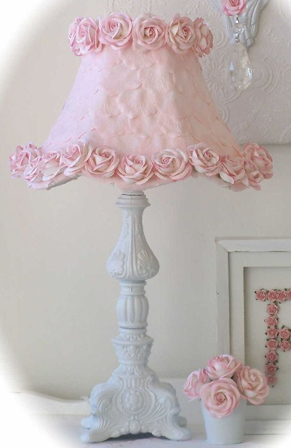 Ornate Table Lamp With Pink Rose Petal Shade 3