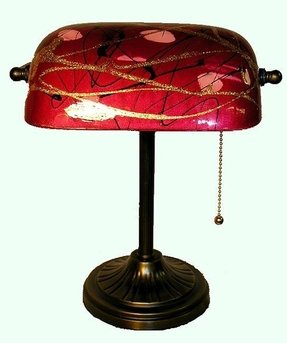 Tiffany style red banker table lamp