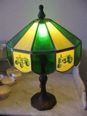 John deere table lamp foter tiffany style stained glass john deere table lamp married with aloadofball