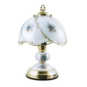 Traditional touch table lamp with blue flower shading