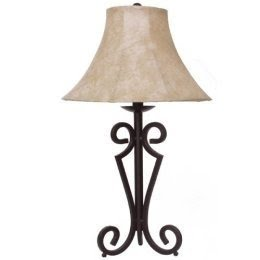 Merveilleux Black Wrought Iron Table Lamp