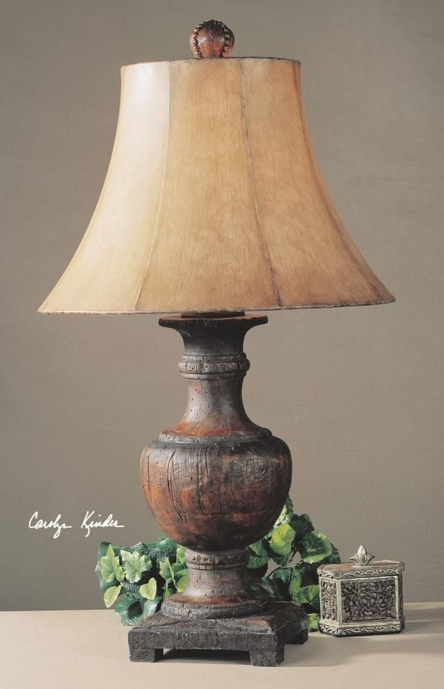 Ordinaire Old World Tuscan Table Lamp Wood Like Base Rustic Distressed