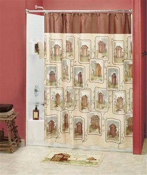 18 Pc Set Linda Spivey Country Outhouse Shower Curtain Hooks