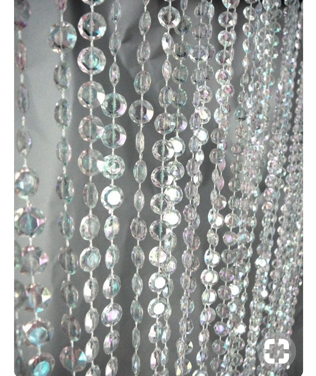 3 Ft X 6 Ft Iridescent Faux Crystal Beaded Curtain