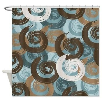 Bon Abstract Curls Teal Brown Shower Curtain