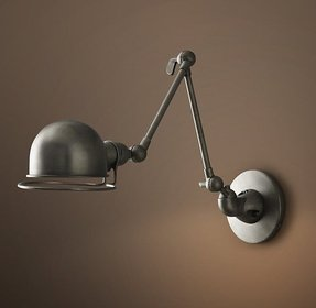 Atelier swing arm wall sconce patina nickel 5 diam extension