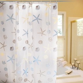 Bath Shower Curtain Liner Bathroom Fabric Classic Design Peva Seashell