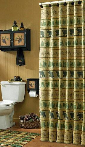 Bear Tracks Shower Curtain Pinecone Tree Tan Green Black Gold Country Cabin Rustic Lodge Decor