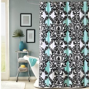 Black white and aqua damask mia shower curtain new fleur
