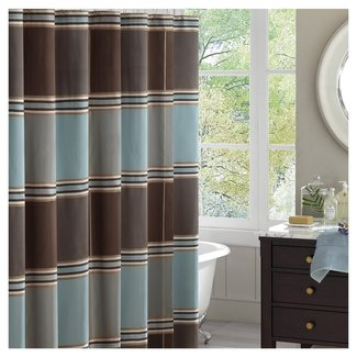Blue brown shower curtain 2