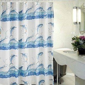 Blue Dolphins Pattern, Mildew Proof and Waterproof Washable Printed Polyester Fabric Shower Curtain for Bathroom 72 Inch By 72 Inch