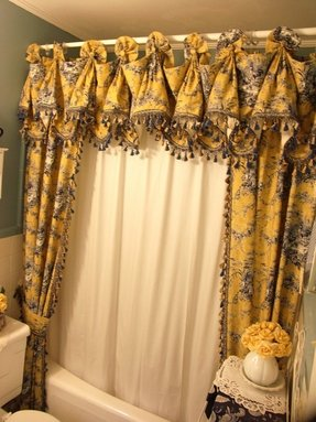 Blue Toile Shower Curtain 1