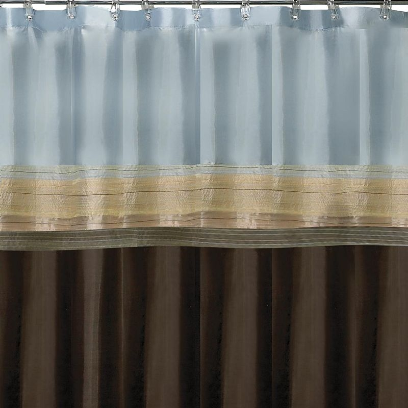 Beau Brown And Grey Shower Curtain. Brown And Blue Bathroom