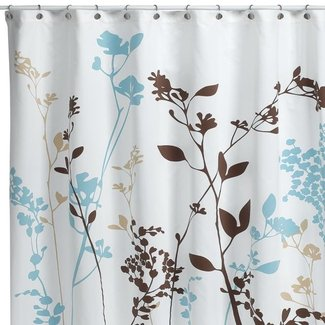 Brown and blue shower curtain