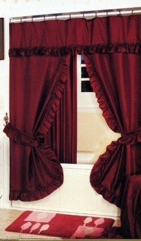 Burgundy Double Swag Shower Curtain And Liner 1