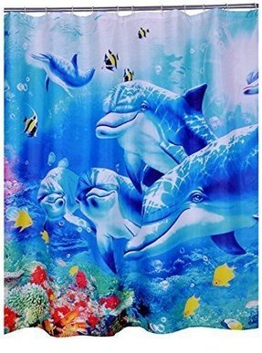 CHUNYI Blue Sea World Coral Dolphin Printed Waterproof Shower Curtain Liners 72*72""
