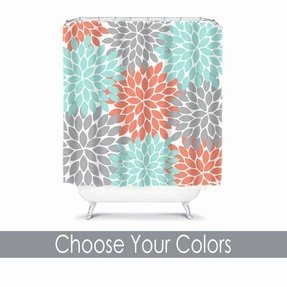 Coral Aqua Gray Shower Curtain Flowers