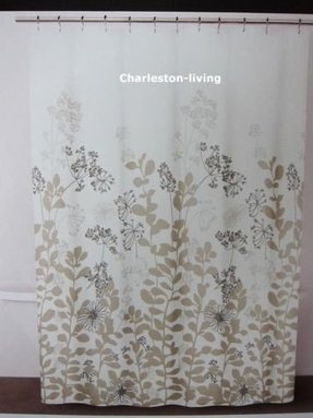 Dkny Luxurious Fabric Shower Curtain Floral Forest Tan Taupe Black