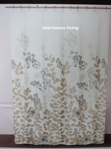 Charmant Dkny Luxurious Fabric Shower Curtain Floral Forest Tan Taupe Black