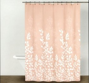 Dkny shower curtain enchanted forest branches leaves blush peach pink