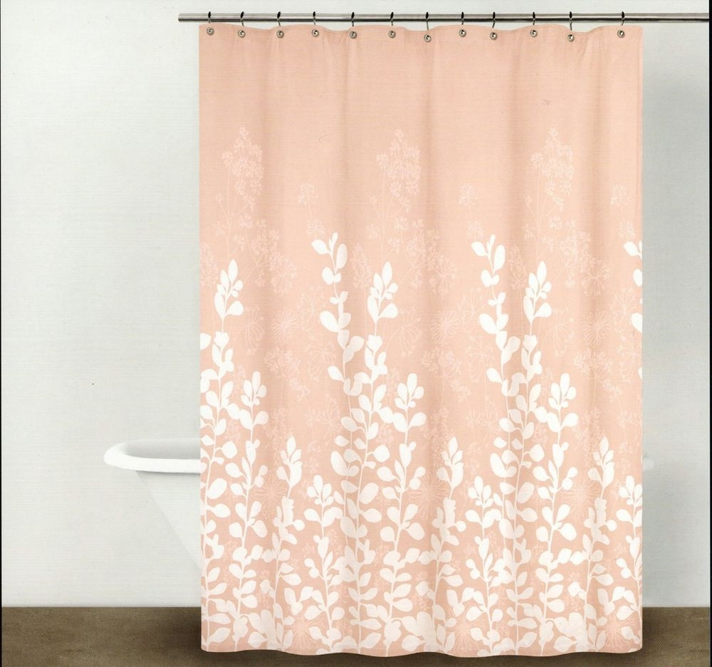 Perfect Dkny Shower Curtain Enchanted Forest Branches Leaves Blush Peach Pink
