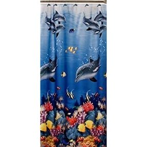 Dolphin fabric shower curtain 2