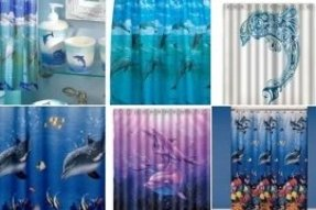 Dolphin fabric shower curtain