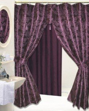 Beau Double Shower Curtains With Valance