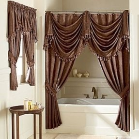 Double swag shower curtain 1