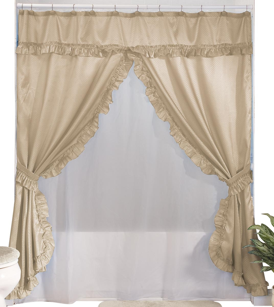 Merveilleux Double Swag Shower Curtain Attached Valance