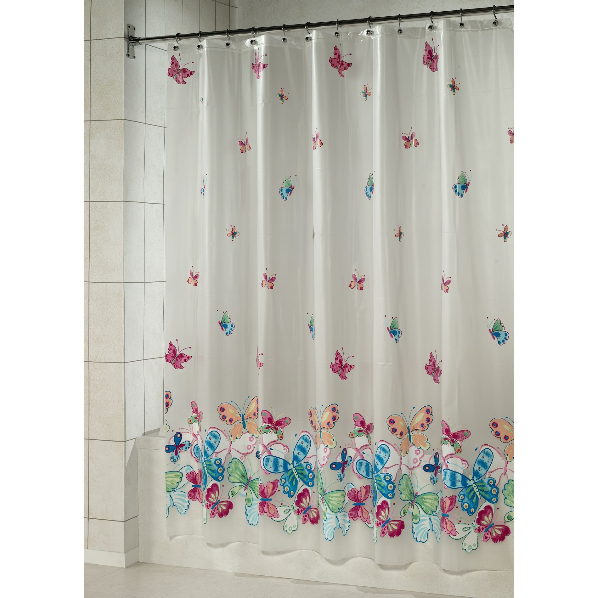 Wonderful Essential Home Shower Curtain Butterfly Border Vinyl Peva Home Bed