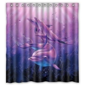 "Funny Funny Cute Dolphin Art Bathroom Shower Curtain, Shower Rings Included Polyester Waterproof 66"" x 72"""