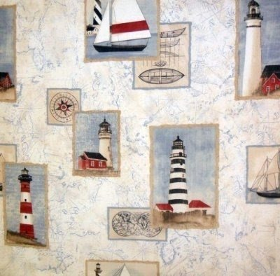 Harbor Cove Fabric Shower Curtain Lighthouse Theme Bathroom Decor