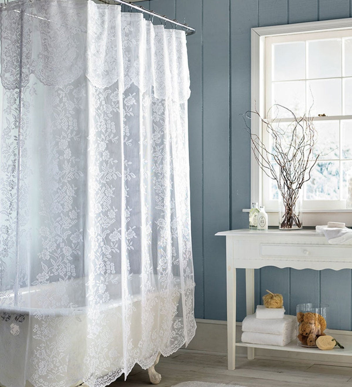 Charmant Lace Shower Curtain 1