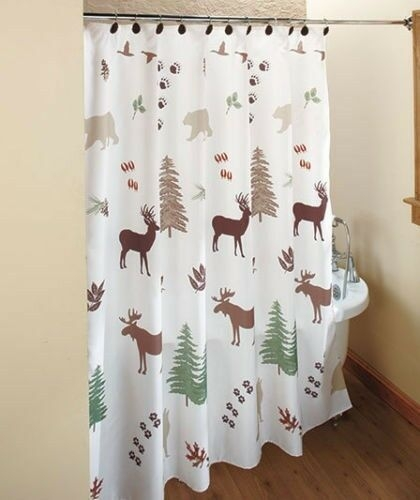 Lodge Northwoods Woodland Pinecone Shower Curtain Towels Lotion Pump Bears