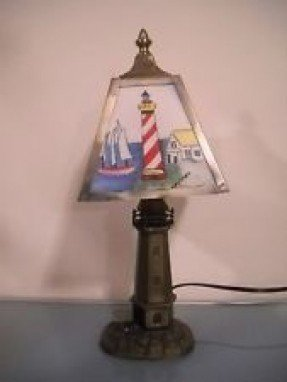 Nautical lighthouse lamp foter nautical lighthouse metal touch lamp lamp shade light house ocean aloadofball Images