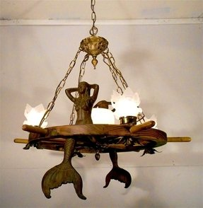 Nautical mermaid ship wheel chandelier ceiling light fixture lamp w