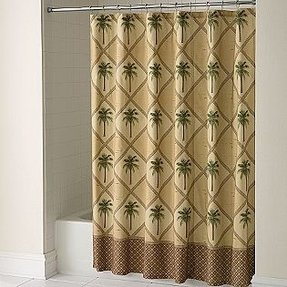 Oasis neutral palm tree tropical fabric shower curtain