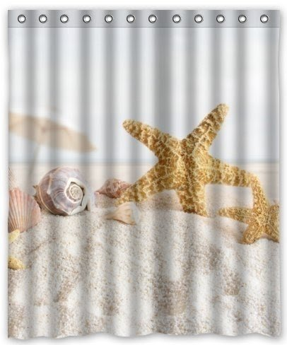 Outlet Seller Custom Starfish And Seashells On The Sea Waterproof Bathroom  Fabric Shower Curtain 60