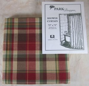 Red green brown tan plaid highland ridge shower curtain