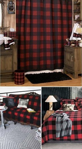 Red tartan curtains