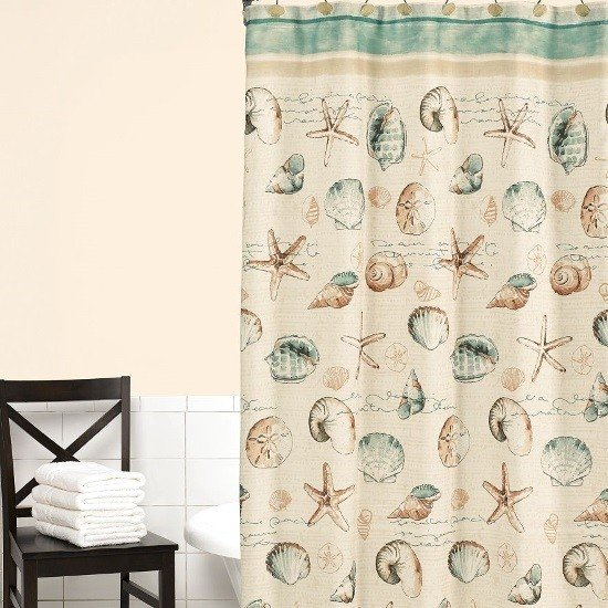 Exceptionnel Seashell Fabric Shower Curtain 1