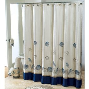 beige and blue shower curtain. Seashell Shower Curtains Fabric Shower Curtain  Foter