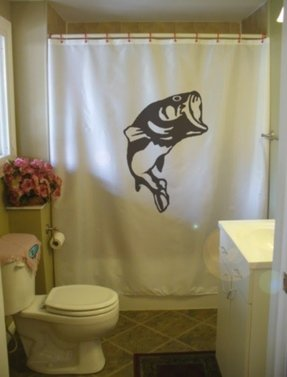 Shower Curtain Bass Fish Game Freshwater