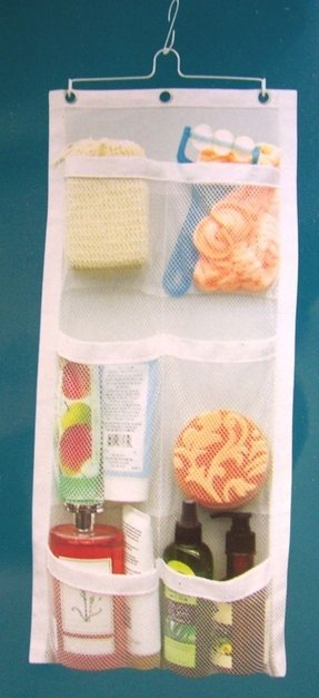 Shower organizer caddy mesh hanging 6 pocket bath accessory holder